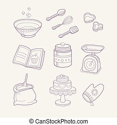 Baking Related Objects Set