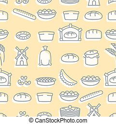 Baking seamless pattern. signs set for fresh bakery. Bread and windmill. Baguette and cheburek. Pie and a sack of flour. Breads and cheesecakes. Ornament of  meal. Texture for restaurant menus