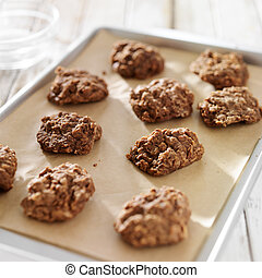 baking sheet of no bake cookies