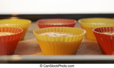 Baking sheet with muffins in hot oven timelapse. View from...