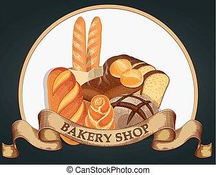 Baking shop emblem. Bread logo for bakery shop. Branding, label, bakery emblem design on dark background. Vector illustration