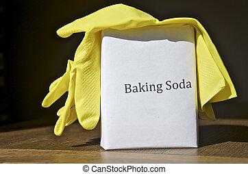 Baking Soda and yellow gloves ready