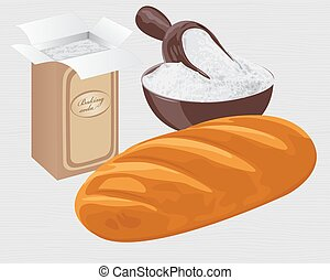 Baking soda in a paper bag, bowl and a loaf of wheat bread