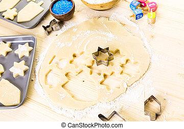 Hanukkah - Baking sugar cookies for Hanukkah.