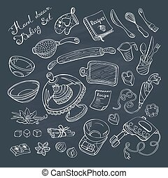 baking tools - Baking items doodle set. Kitchen tools hand...