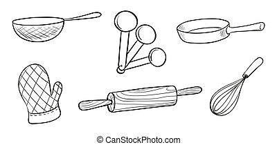 Baking tools - Illustration of the baking tools on a white...