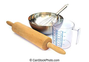 Baking tools isolated on white background.