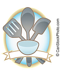 Baking Utensils Oval Blank Banner - Blue and gold metal...