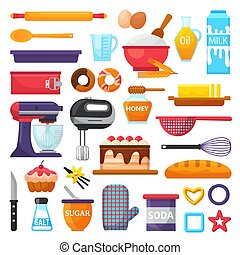 Baking vector kitchenware and food bakery ingredients for ...