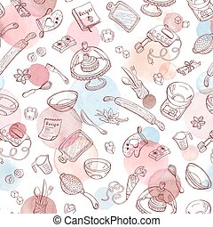 baking watercolor pattern - Baking doodle background. Vector...