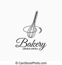 Baking with wire whisk logo. Bakery concept