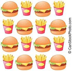 bakken, hamburger, seamless, achtergrond