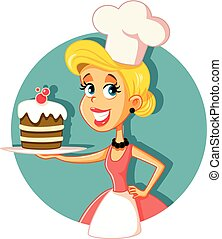 bakken, illustratie, kok, vector, gebakje, vrouwlijk, taart
