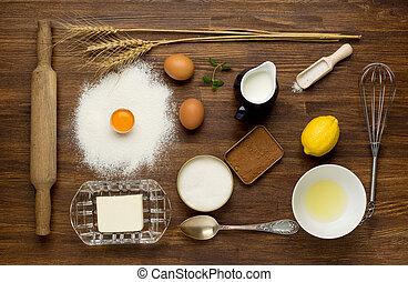 bakken, taart, in, landelijk, keuken, -, deeg, recept, ingredienten, (eggs, meel, melk, boter, sugar), op, ouderwetse , wooden table, van, above.
