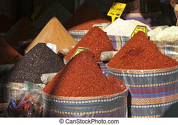 bakken, van, droog, kruiden, te koop, in, markt