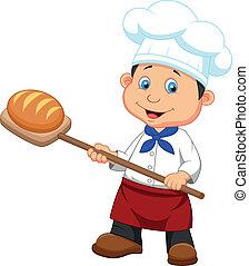 bakker, spotprent, brood