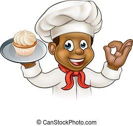 bakker, spotprent, kok, black , gebakje, of