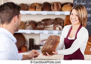 bakkerij, assistent, het verkopen, brood