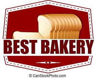 bakkerij, etiket, brood, best, schijfen