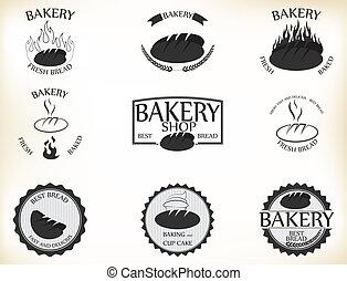 bakkerij, etiketten, en, kentekens, met, retro