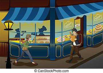 bakkerij, franse , winkel