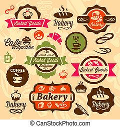bakkerij, kentekens, en, etiket