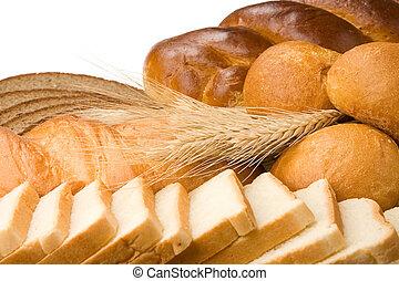 bakkerij, producten, vrijstaand, op wit