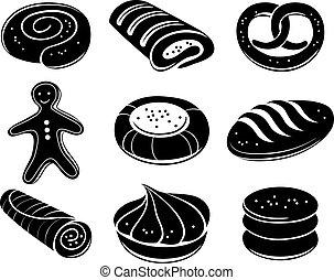 bakkerij, set, pictogram