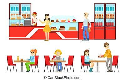 bakkerij, verkoper, aankoop, vector, of, kies, winkel, banketbakkerij, mannelijke , mannen, tafels, vrouwen, toetjes, portie, zittende , eten, illustratie, mensen, koffiehuis, klanten