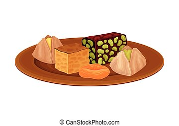 Baklava and Nougat with Nuts Rested on Plate as Syrian Cuisine Dessert Vector Illustration. Traditional Sugary Delight and Sweet Treat of Syria Concept