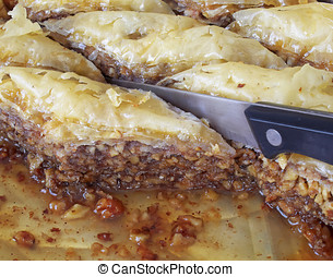 baklava cut, traditional midle east sweet