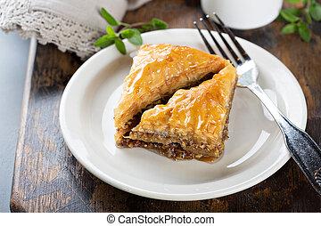 Baklava dessert on a plate