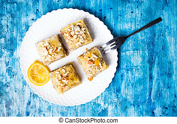 Baklava dessert slices on a plate