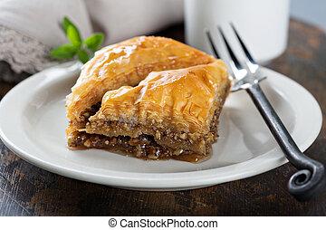 Baklava on a dessert plate