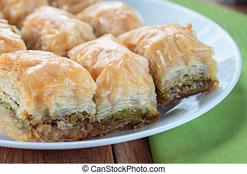 Baklava on the white plate