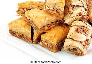 Baklava varieties on a white background.