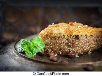 Baklava pastry dessert. Traditional turkish dessert.