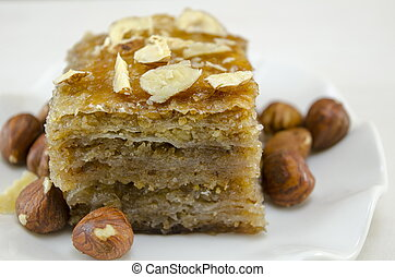 Baklava with hazelnuts on a plate