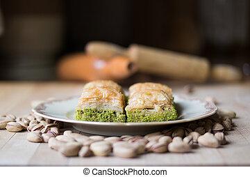 Baklava with pistachio / Turkish Traditional Dessert