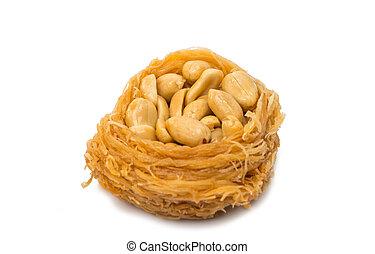 baklava with walnuts isolated