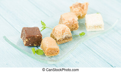Baklava - Middle Eastern sweet pastry and nuts selection.