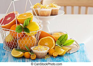 bakning, med, citrusträd frukt