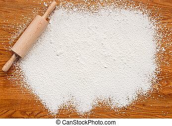 bakning, mjöl, struktur, bakgrund