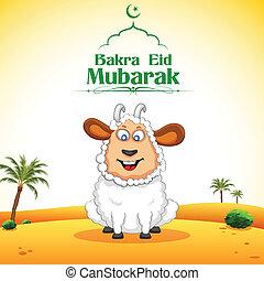 Bakra Id Mubarak - illustration of sheep wishing Bakra Id...
