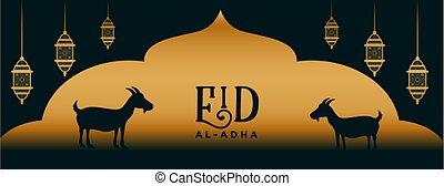 bakrid, eid, elegante, al, fiesta, adha, diseño, bandera, dorado