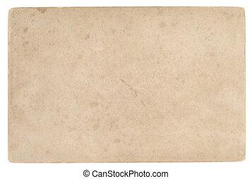 baksida, ansikte, av, gammal, vykort