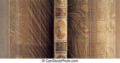 baksida, av, årgång, bok