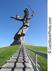 baksida, av, monument, motherland, in, volgograd, russia;, blå, sky;, trappa