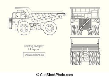 baksida, image., vit, frakt, bil, teckning, sida, lastbil, utsikt., diesel, tung, främre del, blåkopia, tippvagn, bakgrund., bil., gruvdrift, industriell, skissera