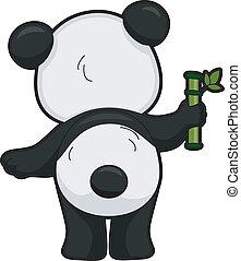 baksida, jättelik panda, synhåll